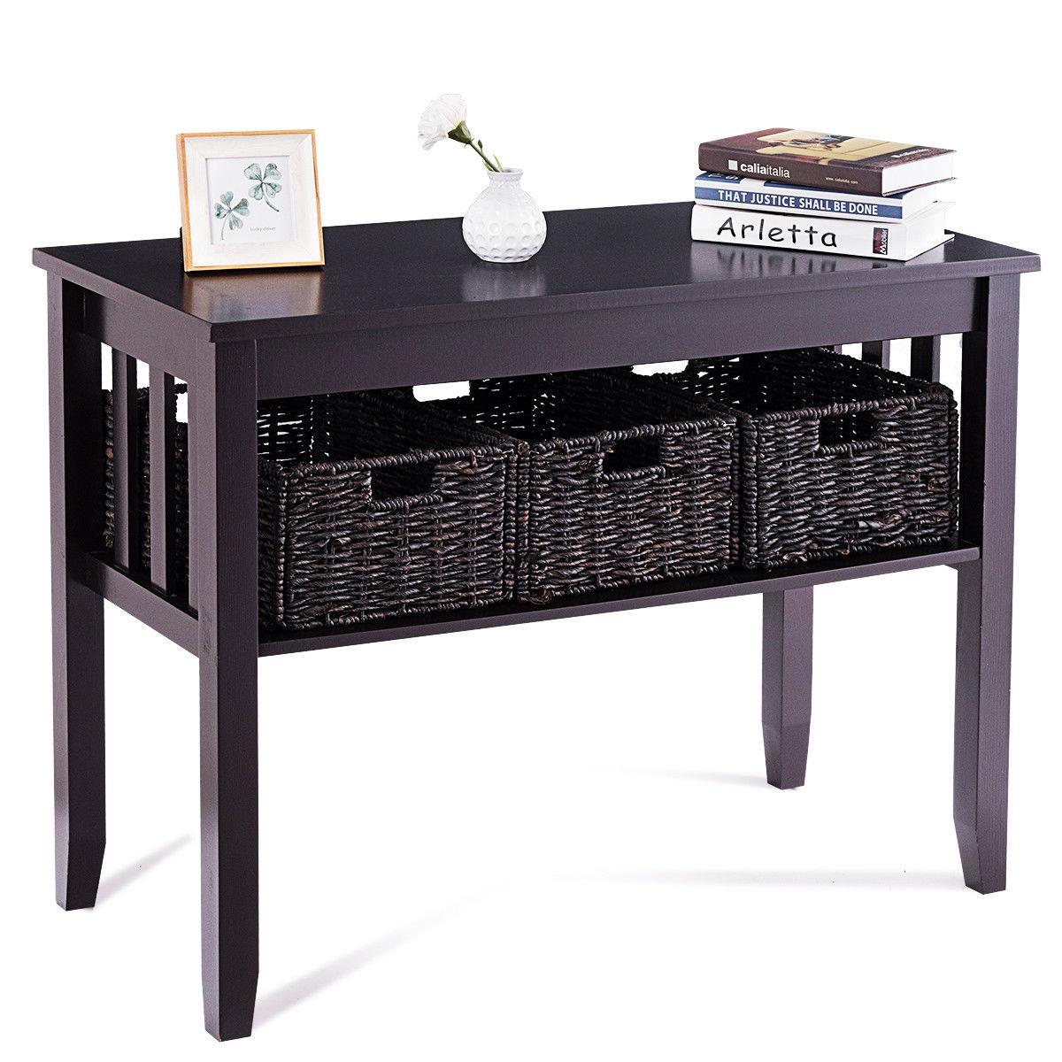 Wooden Rectangular Side Storage Table with 3 Storage Baskets