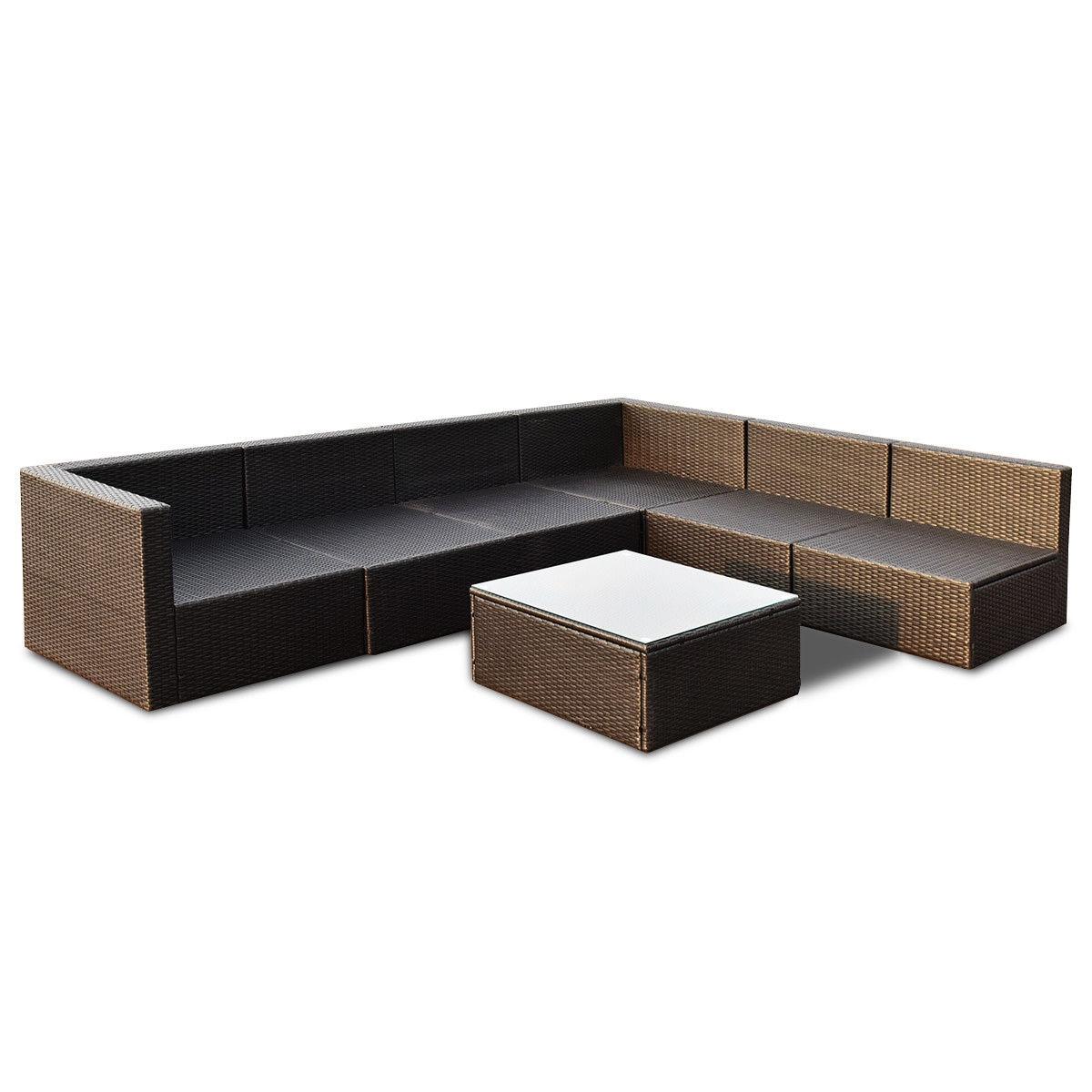 7 pcs Patio Rattan Wicker Furniture Set