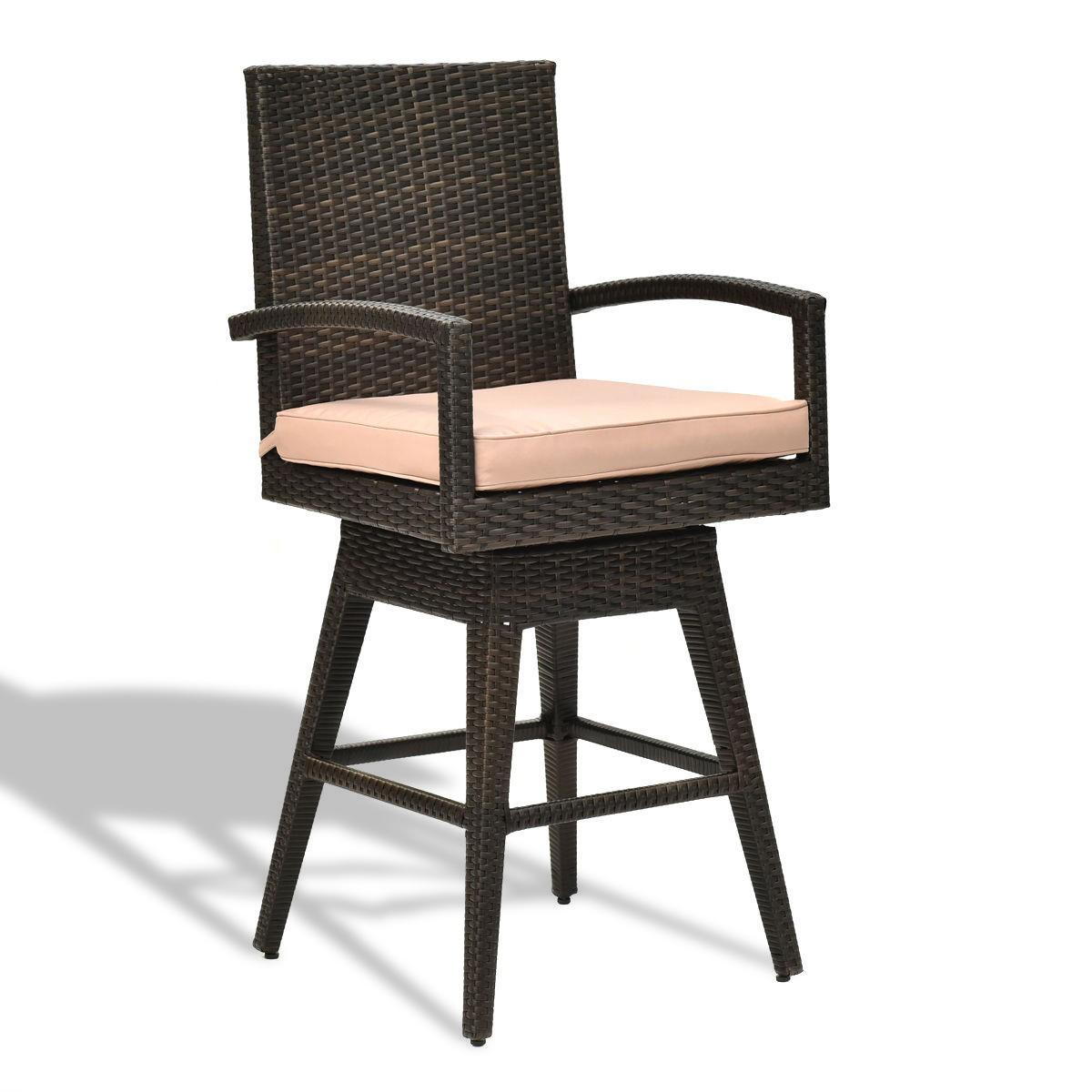 Outdoor Wicker Swivel Bar Stool Chair w/ Seat Cushion