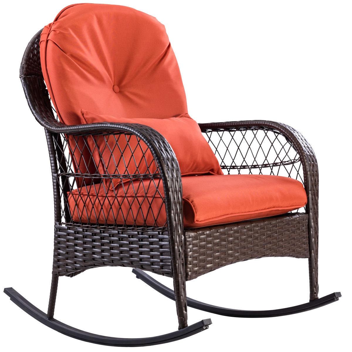 Outdoor Wicker Rocking Chair w/ Cushion
