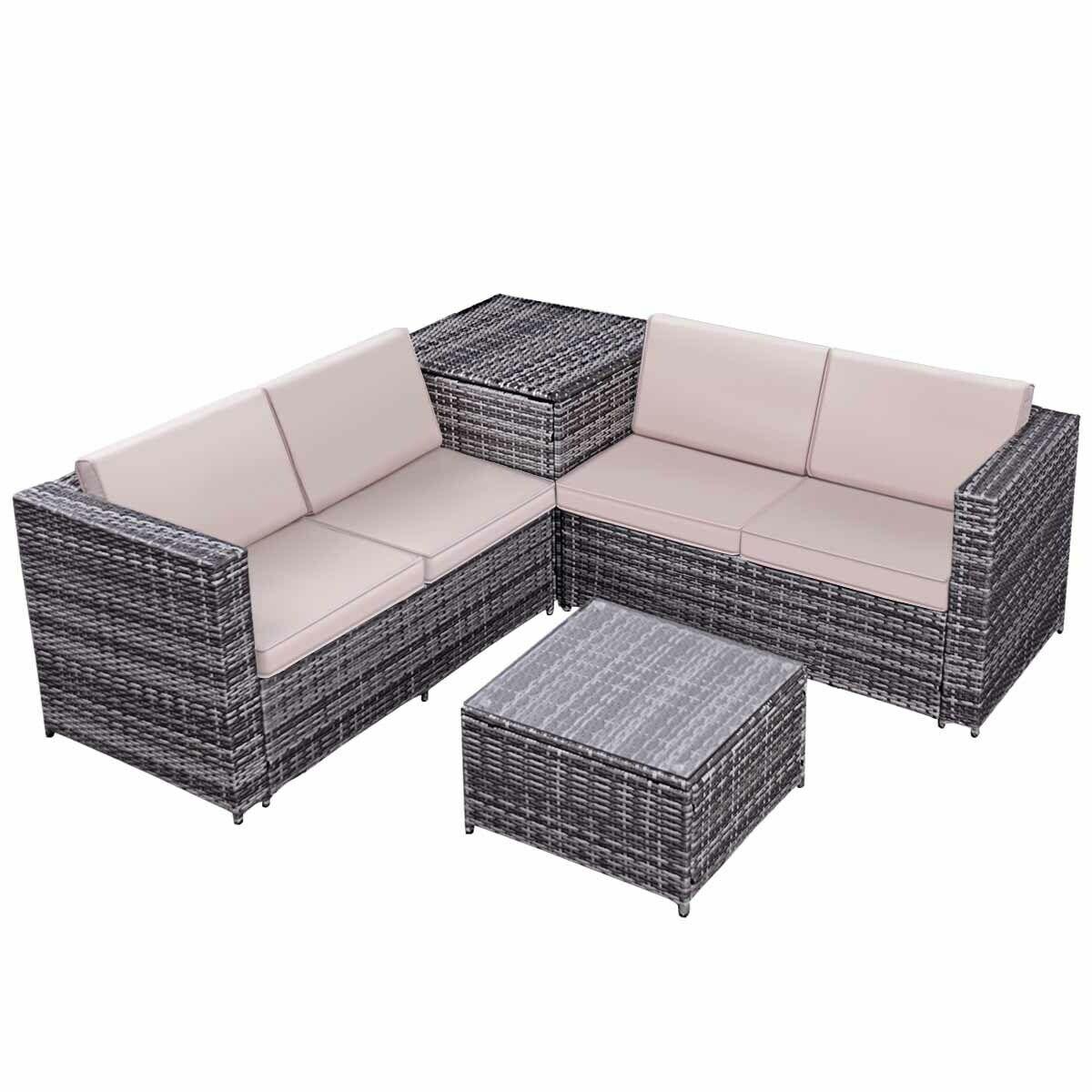 4 pcs Rattan Wicker Furniture Set with Storage Box