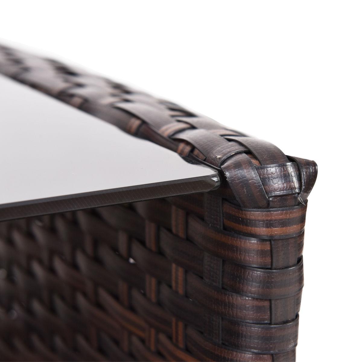 4 pcs Outdoor Patio Rattan Furniture Set Table Shelf Sofa