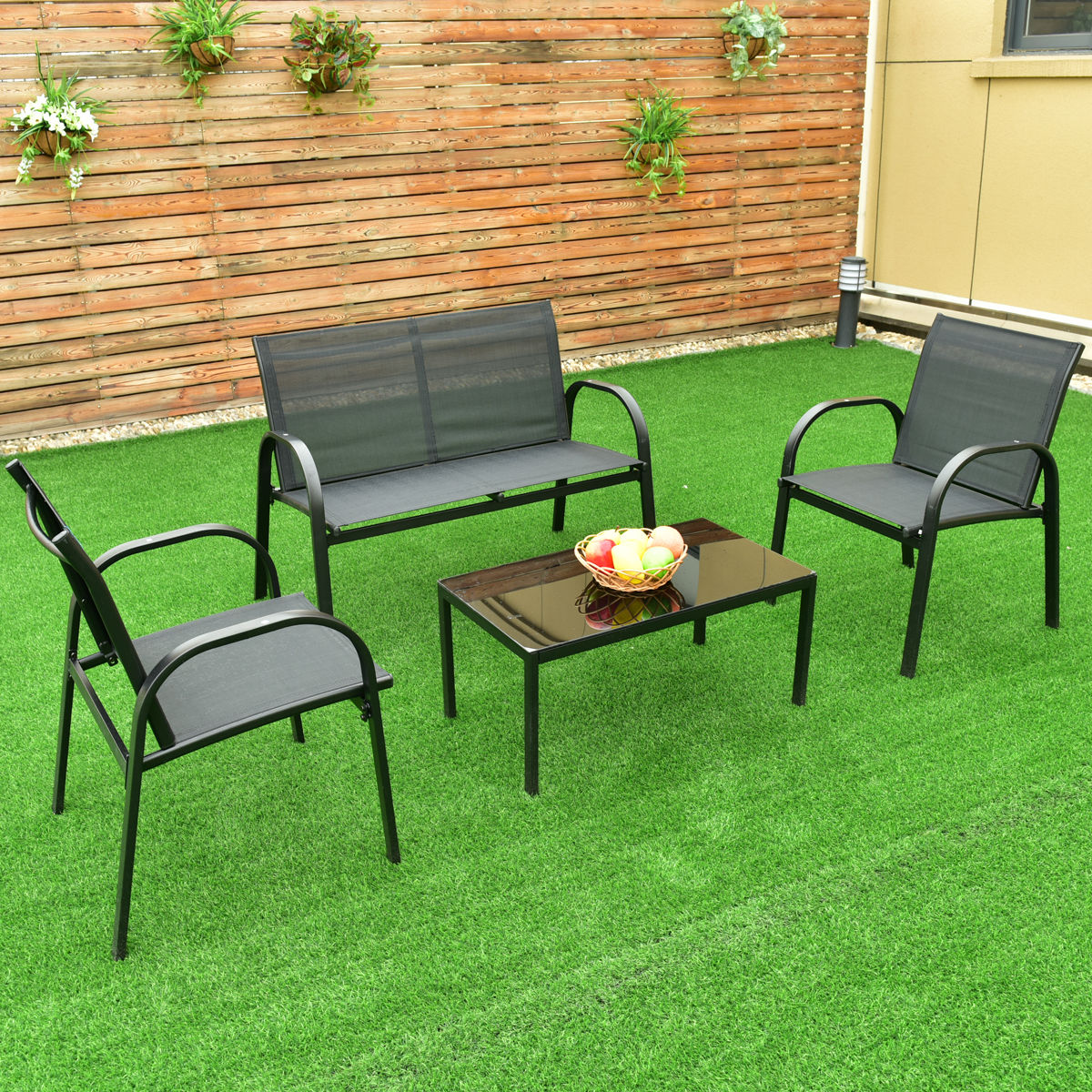 4 pcs Patio Furniture Set with Glass Top Coffee Table