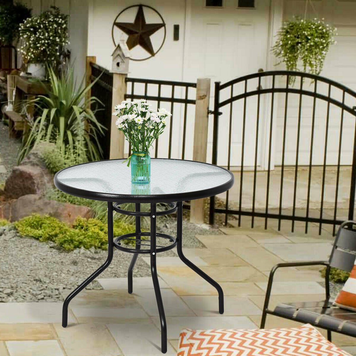 Patio Round Table Steel Frame Dining Table