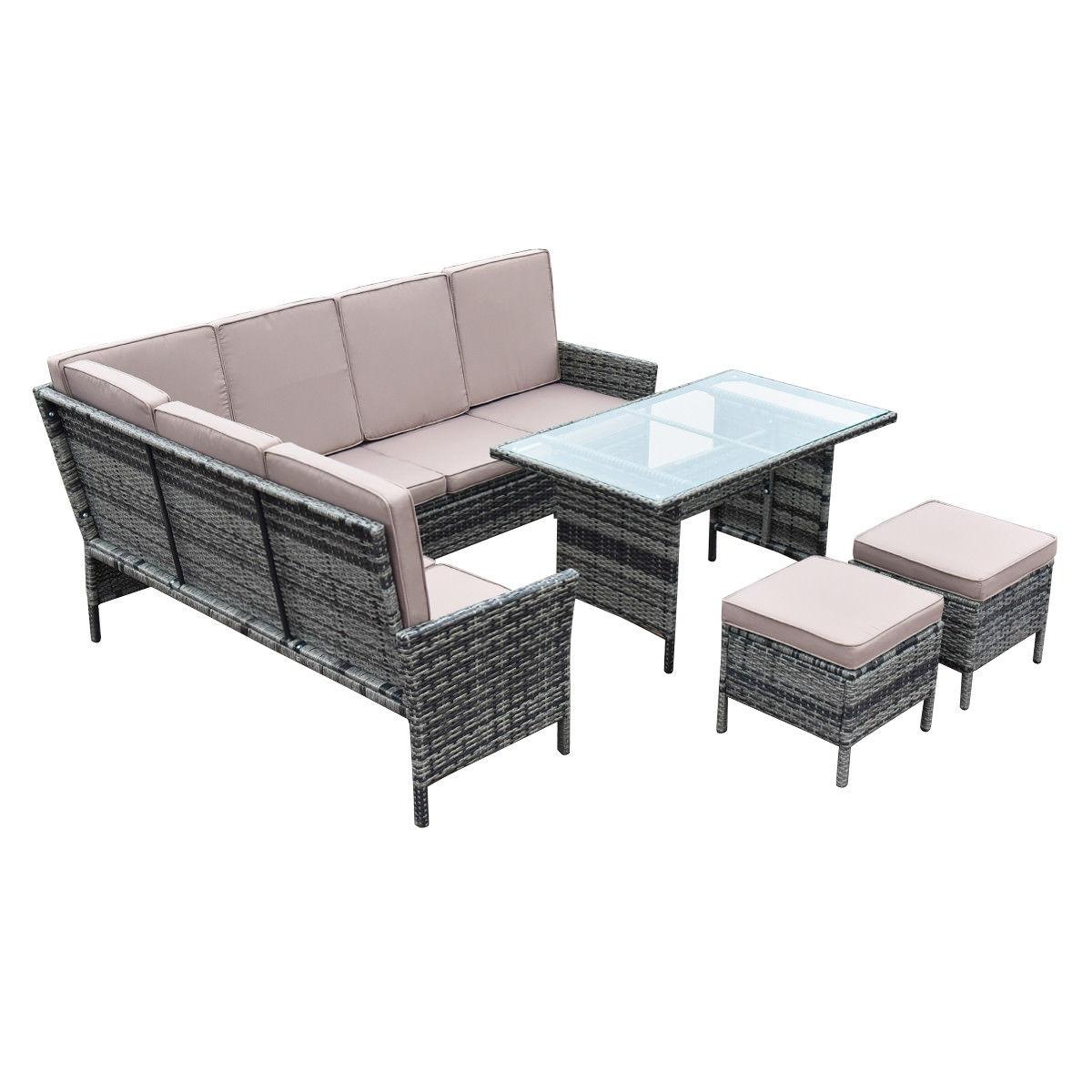 5 pcs Patio Wicker Rattan Furniture Set w/Brown Cushion