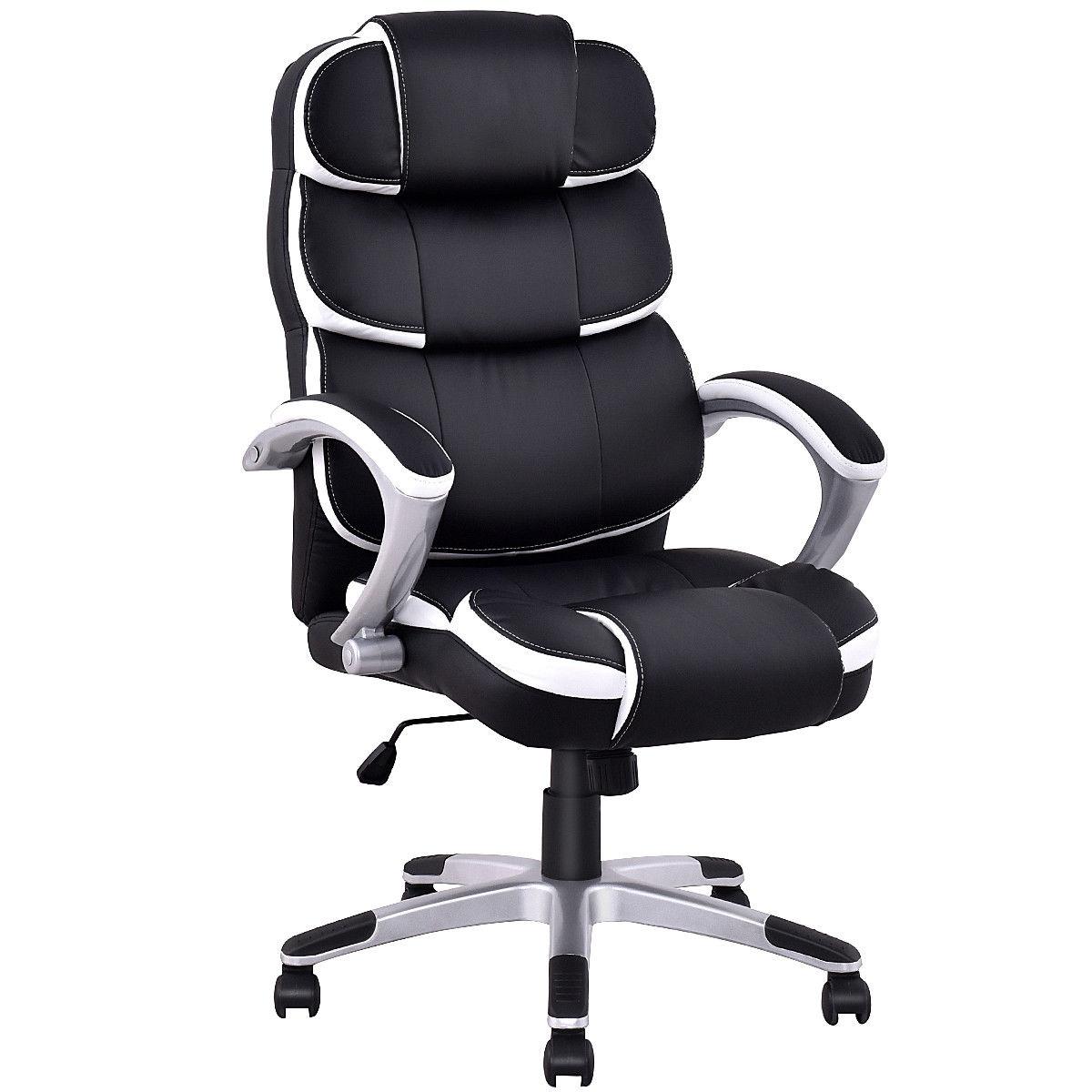 Ergonomic PU Leather High Back Computer Chair-Black