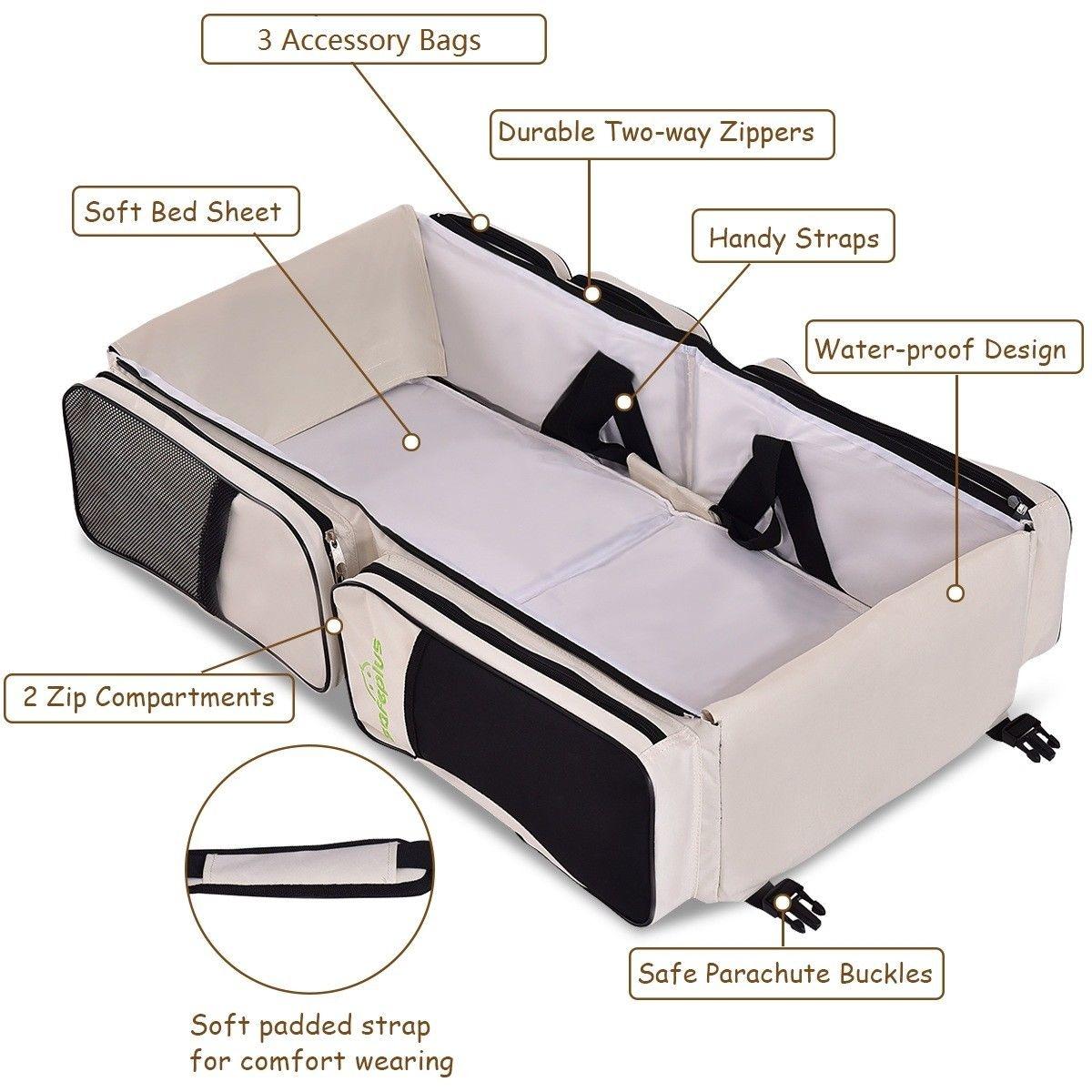 3 in 1 Portable Infant Bassinet Diaper Bag Beige