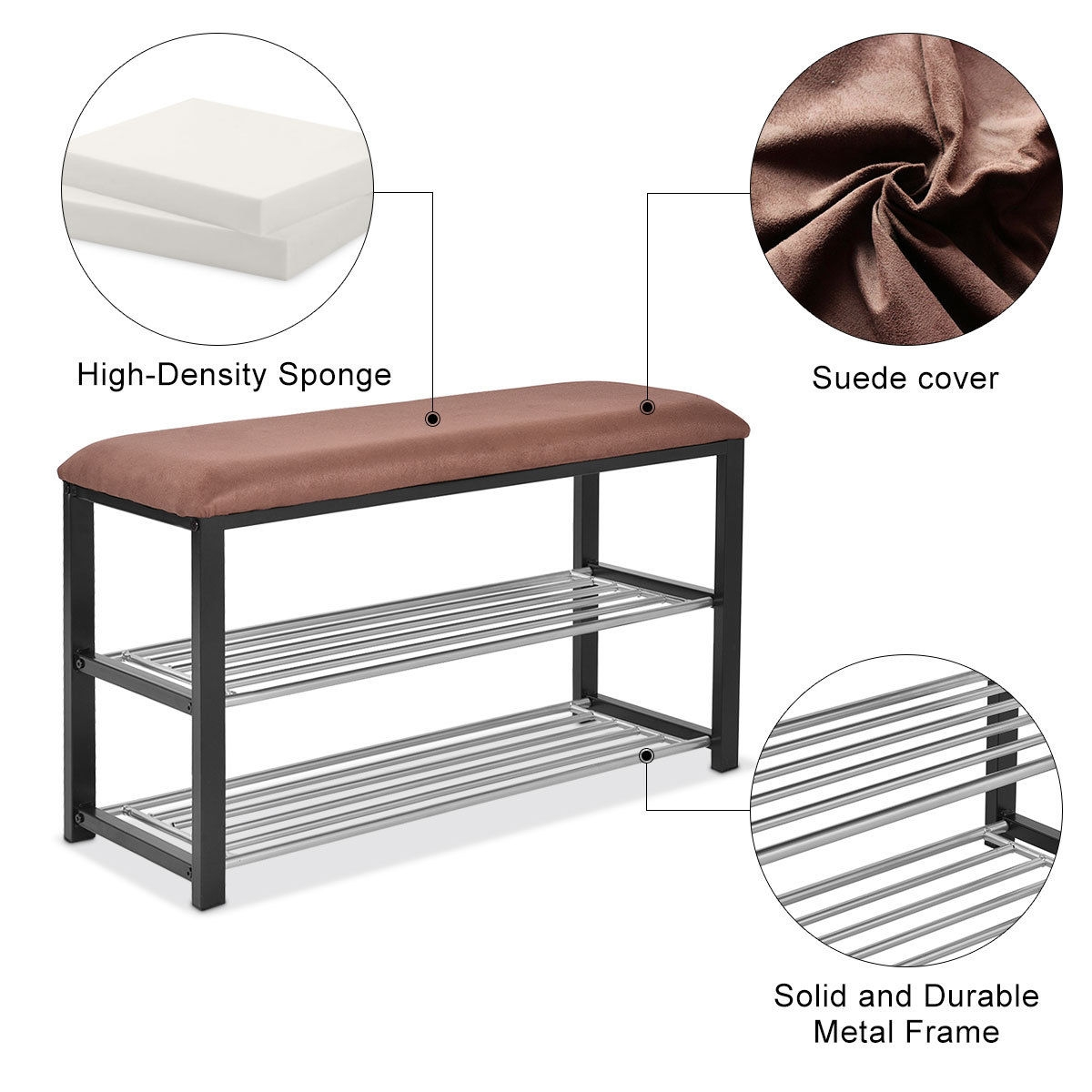 2 Tiers Shoe Storage Rack Soft Seat Bench