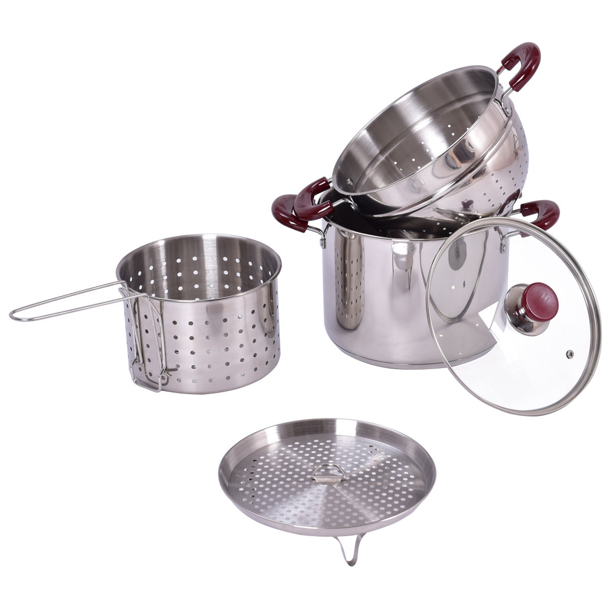 5 pcs Stainless Steel Stock Pot 7-Quart Pasta Cooker Set