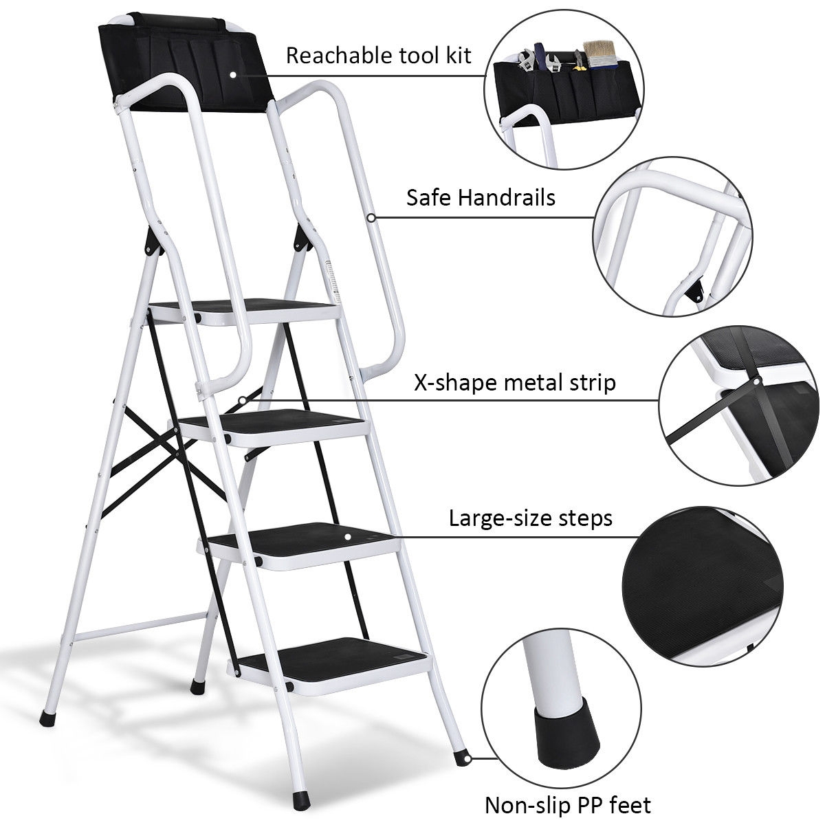 2 in 1 Folding Non-slip 4 Step Ladder