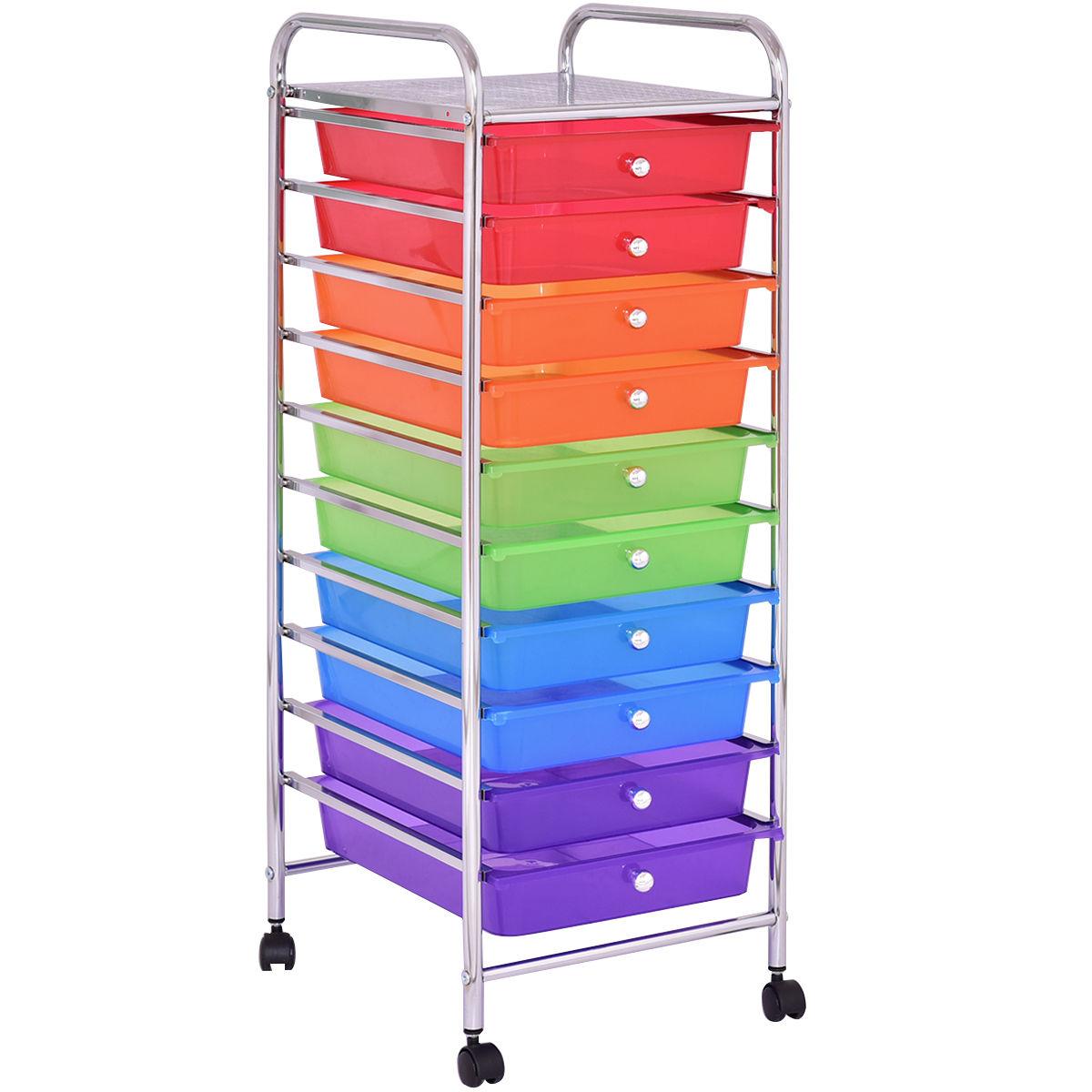 10 Drawers Rolling Storage Cart