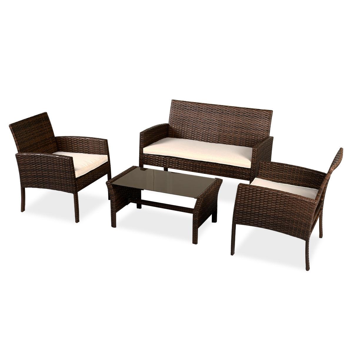 4 pcs Patio Garden Furniture Wicker Rattan Sofa Set