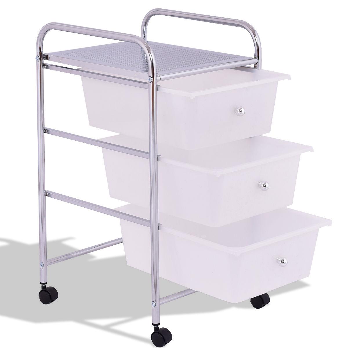 3 Drawers White Metal Rolling Storage Cart