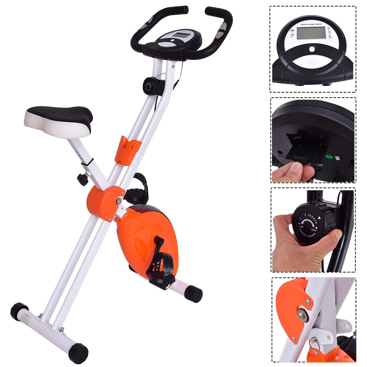 45 Height Resistance Adjustable Folding Magnetic Exercise Bike