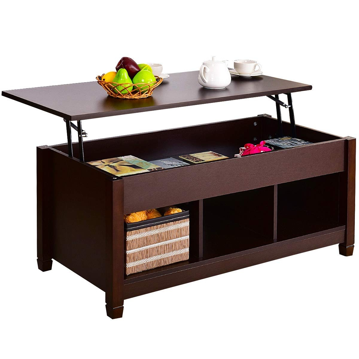 Lift Top Coffee Table w/ Hidden Compartment and Storage Shelves-Coffee