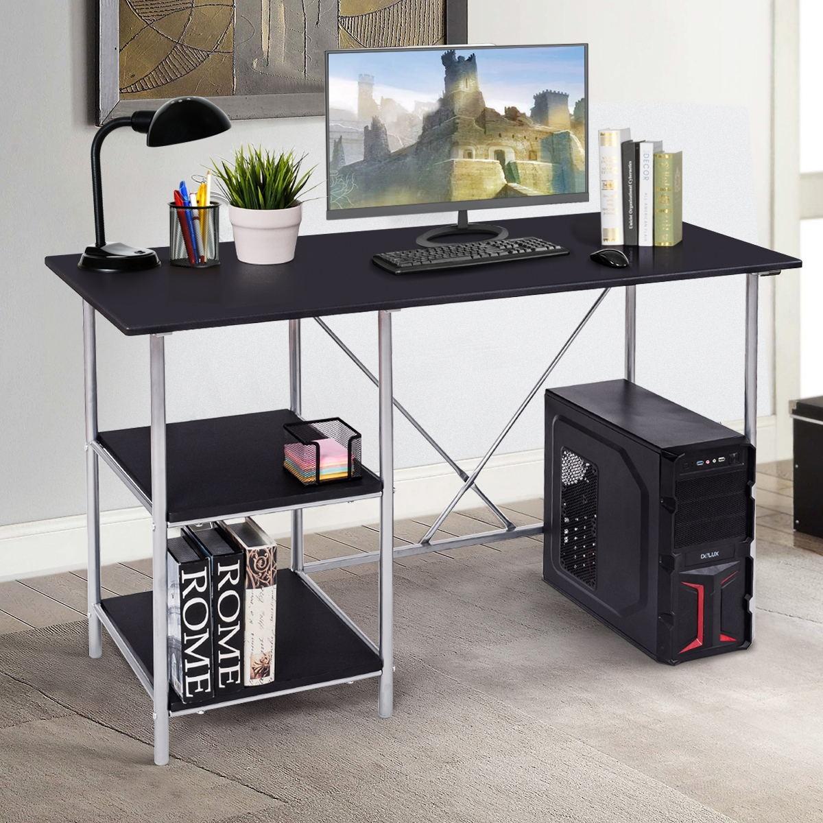 Black Writing Laptop Desk with 2 Shelves