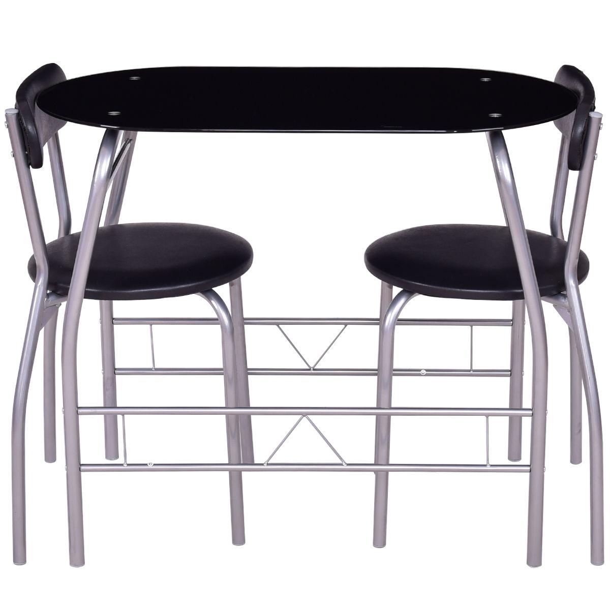 3 pcs Tempered Glass Dining Furniture Set