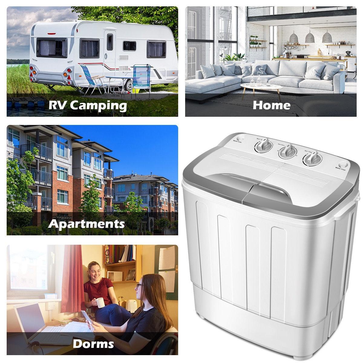 8 lbs Compact Mini Twin Tub Dryer Washing Machine