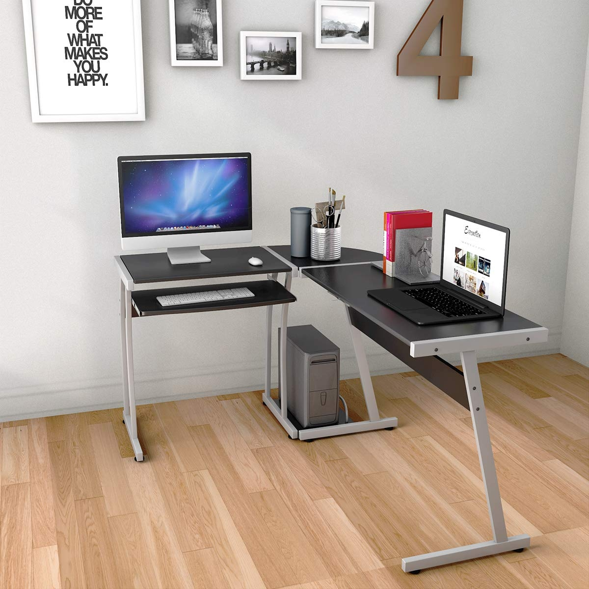 Large L-Shaped Wood PC Desk