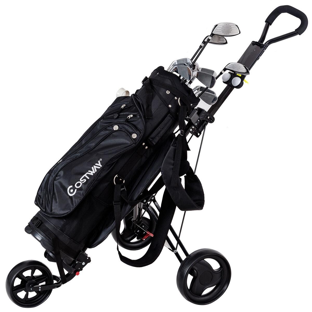Lightweight Foldable Steel Golf Cart with Adjustable Bag Strap
