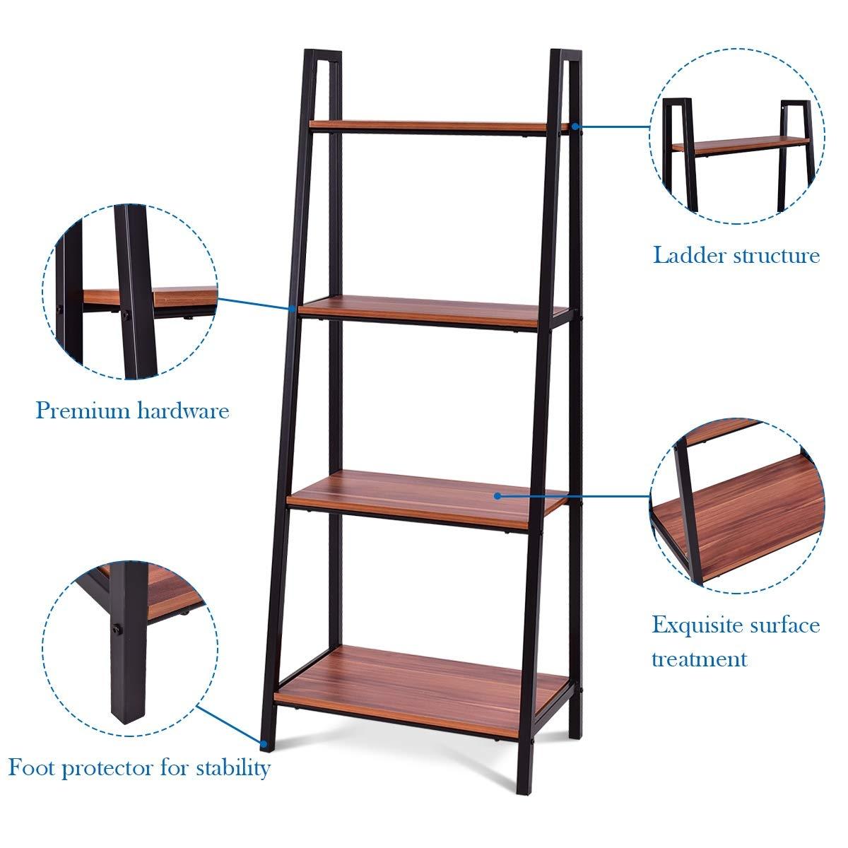 4-Tier Durable Ladder Storage Bookcase