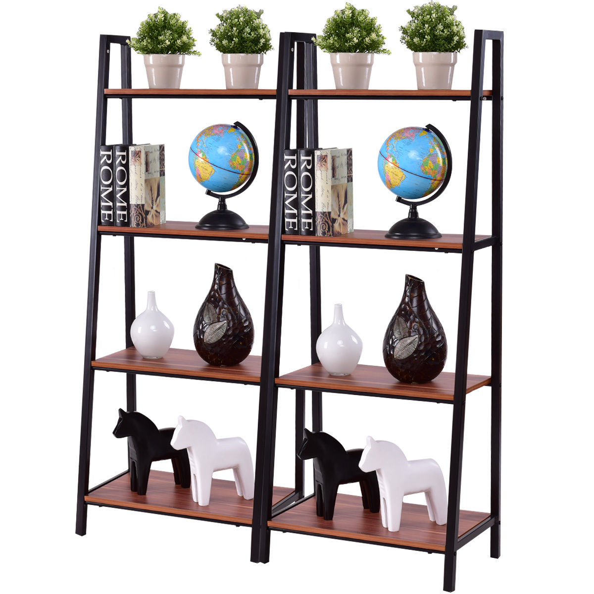 2 pcs 4-Tier Modern Ladder Bookshelf