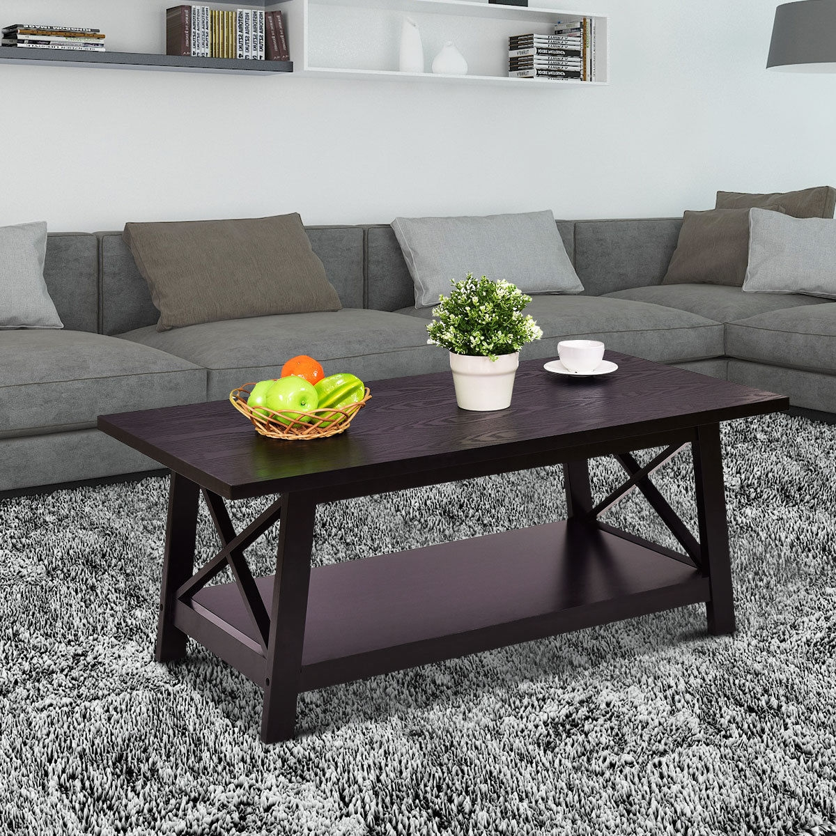 Durable Rectangular Coffee Table with Storage Shelf