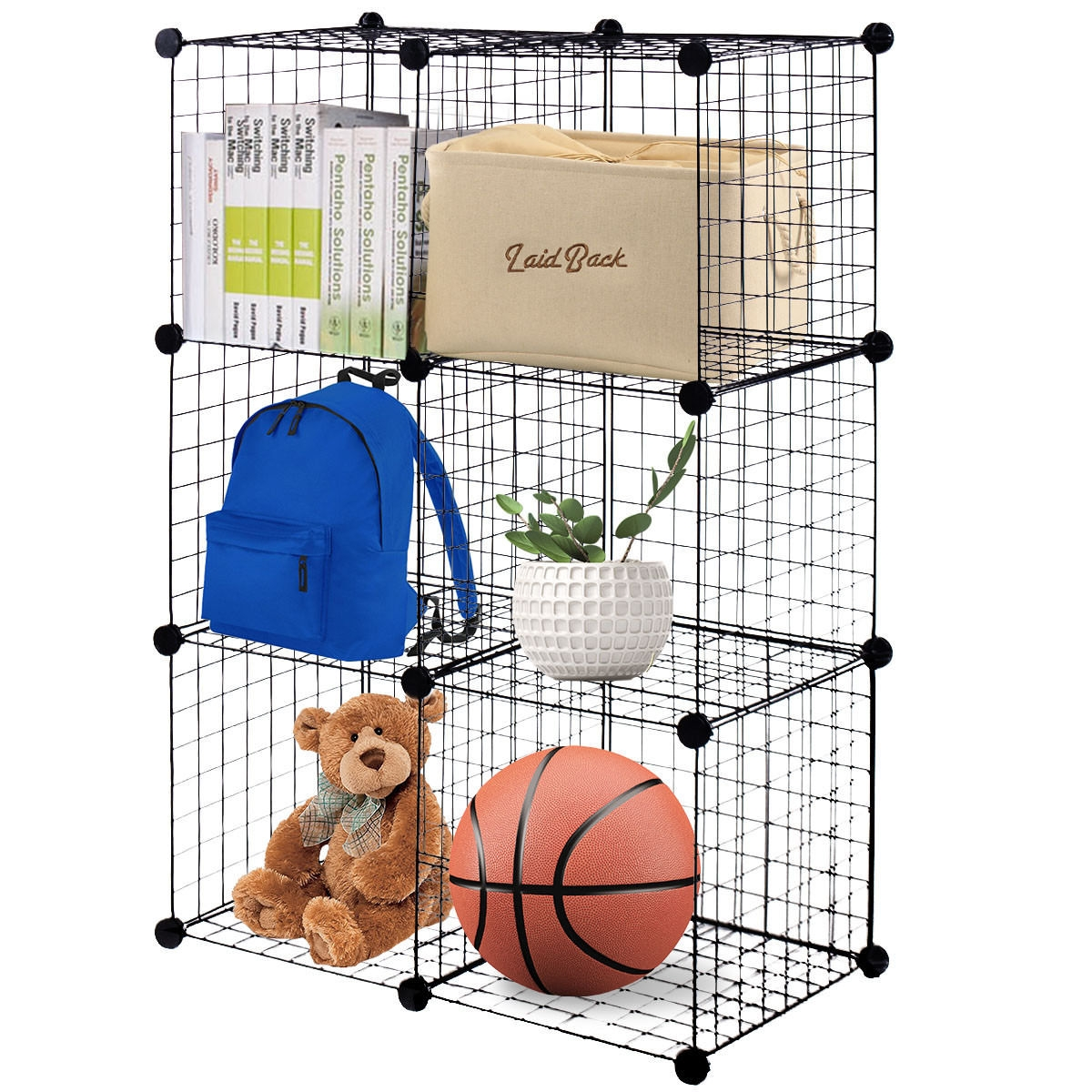 DIY 6 Cube Grid Wire Cube Shelves