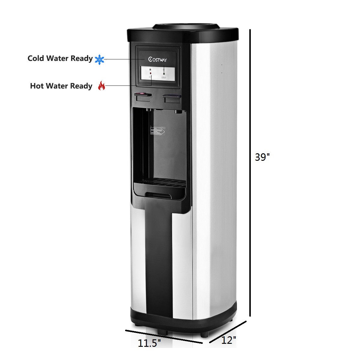5 Gallon Top Loading Stainless Steel Cold Hot Water Dispenser