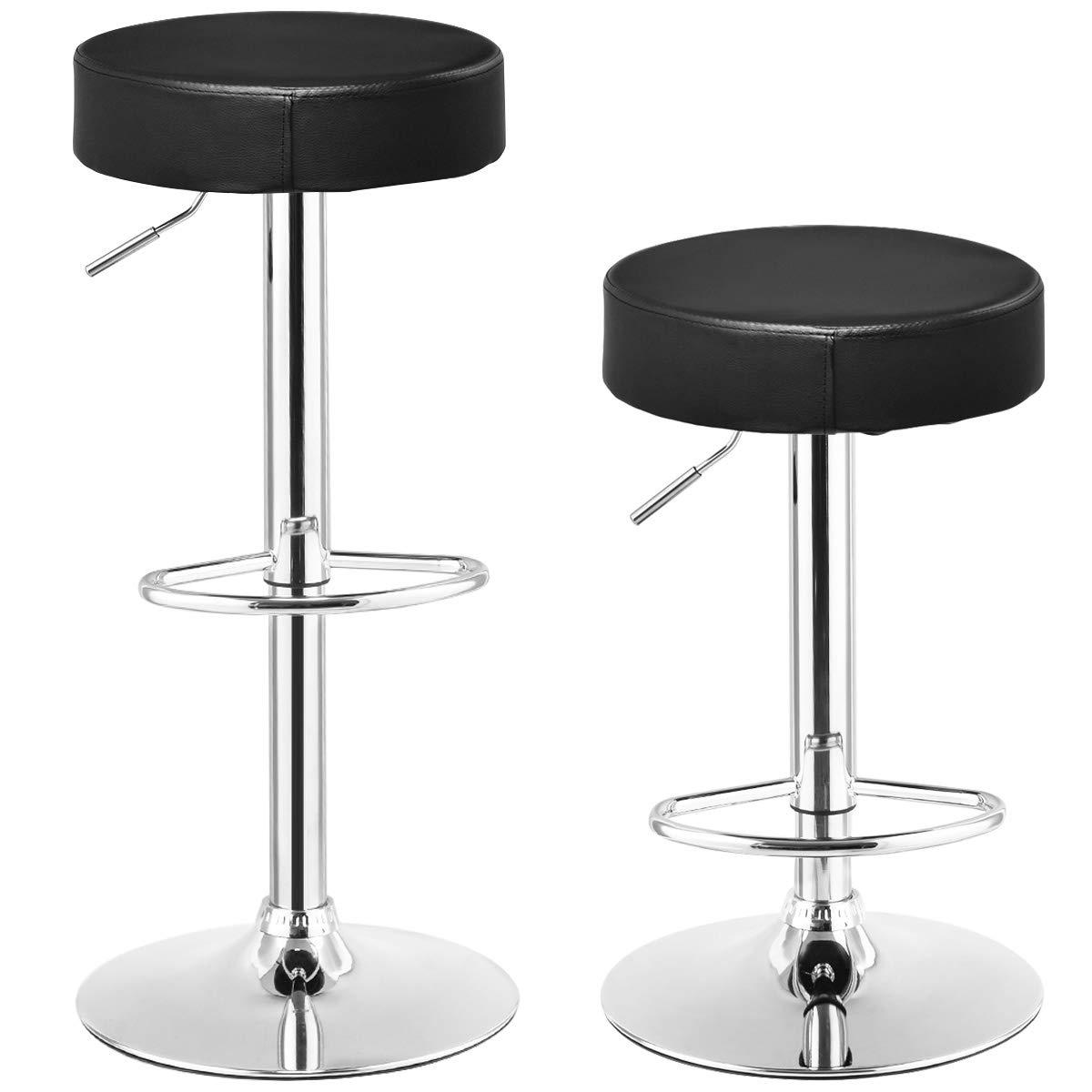 Set of 2  Adjustable Round Leather Seat Swivel Bar Stool