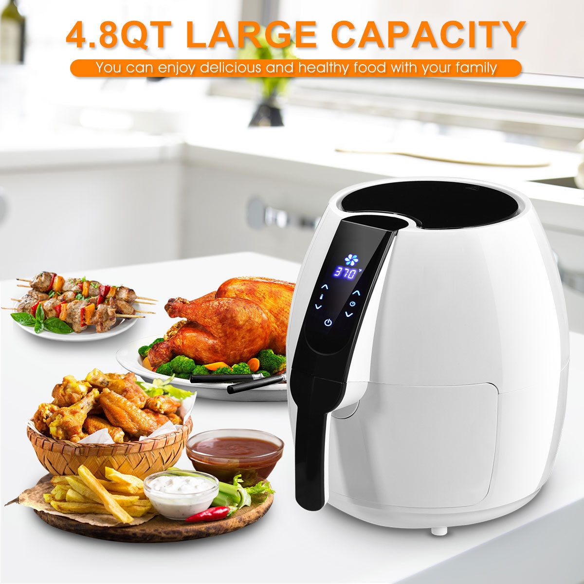 1500 W 4.8 Quart Electric LCD Touch Screen Timer Air Fryer