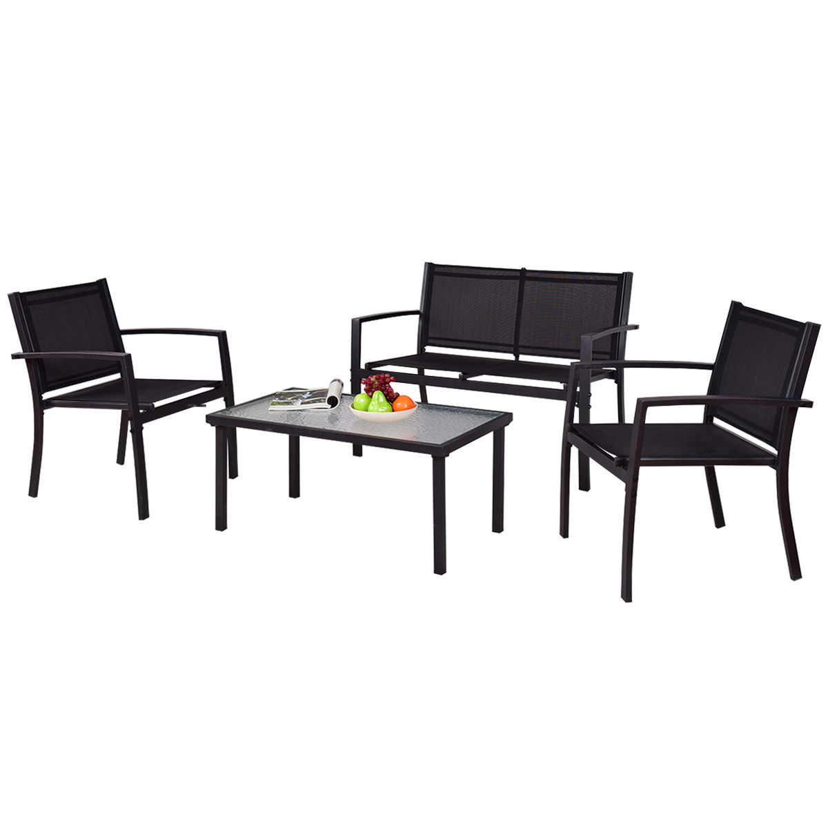 4 pcs Patio Steel Frame Coffee Table Furniture Set