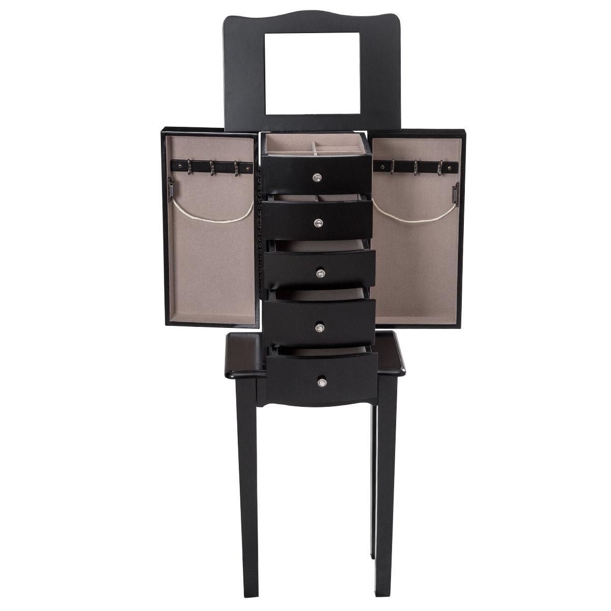 Wood Mirrored Jewelry Storage Chest Cabinet