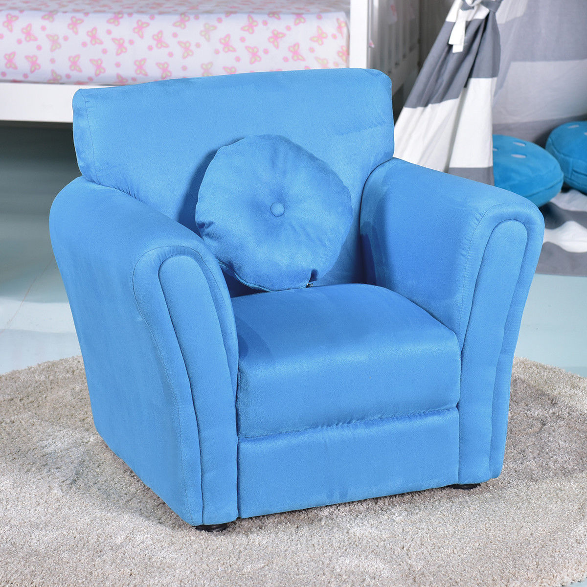 Living Room Armrest Chair Couch Kids Sofa w/ Pillow-Blue