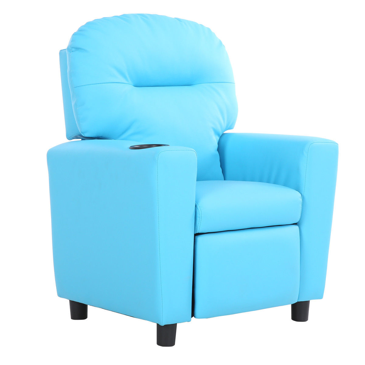 Recliner Armrest Couch Children Sofa  w/ Cup Holder-Blue