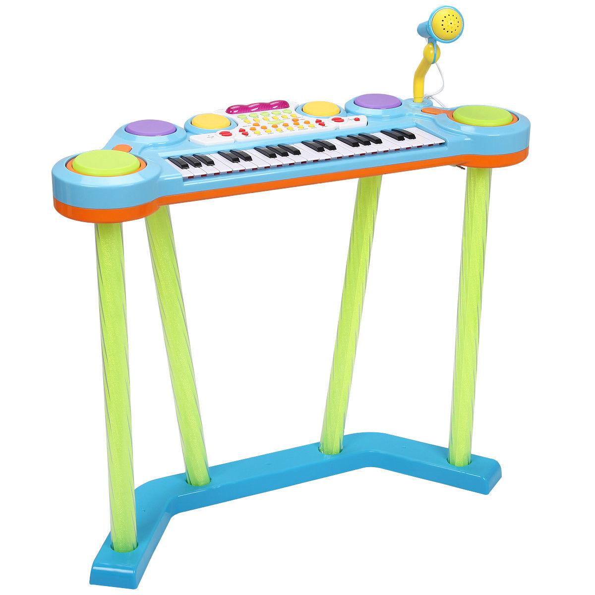 Kids 37 Key Electronic Keyboard Musical Piano w/ Microphone-Blue