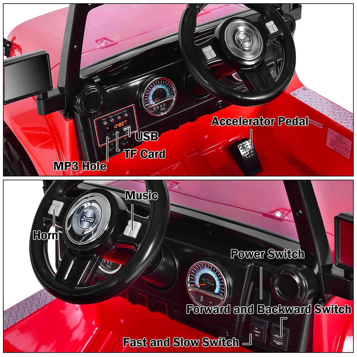 12V Kids Music Remote Control Ride on Jeep Car w/ LED Lights