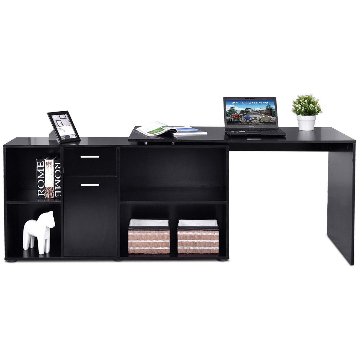 Rotating L-Shape Corner Writing Study Computer Desk