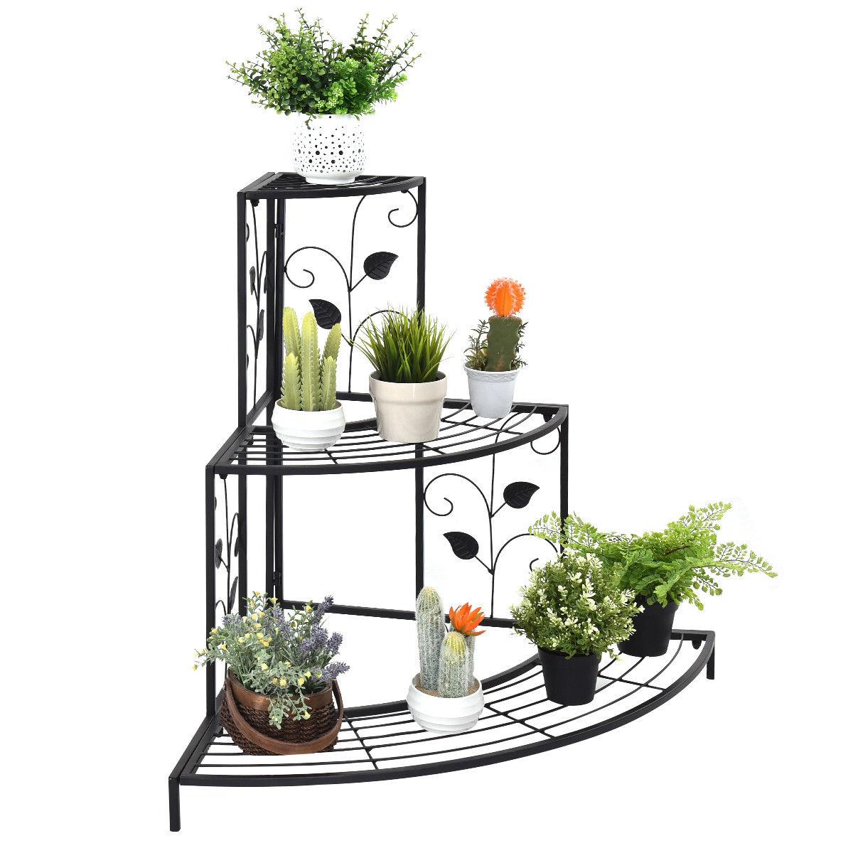 3 Tier Floral Corner Metal Plant Pot Rack