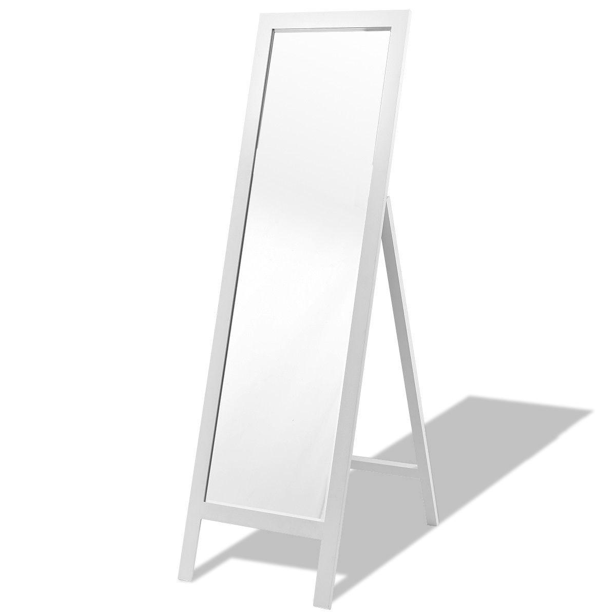 Full Length White Wooden Frame Standing Dressing Mirror