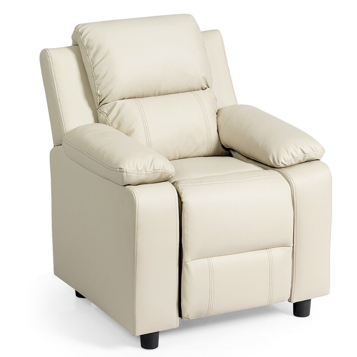Deluxe Kids Armchair Recliner Headrest Sofa w/ Storage Arms