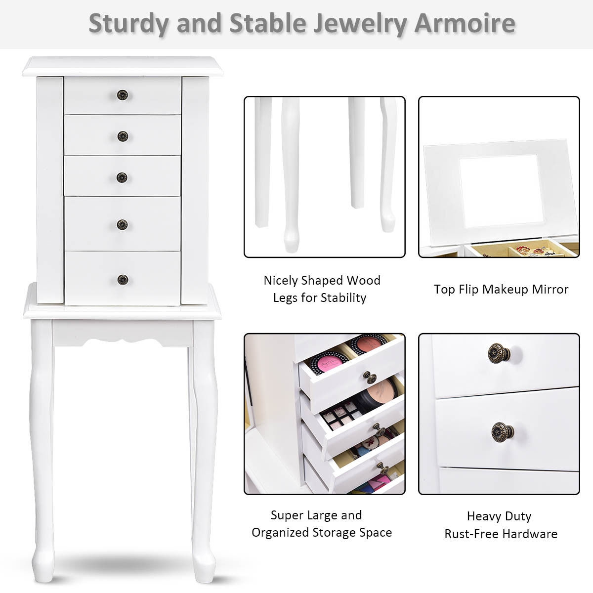 2 Colors Armoire Storage Standing Jewelry Cabinet with Mirror