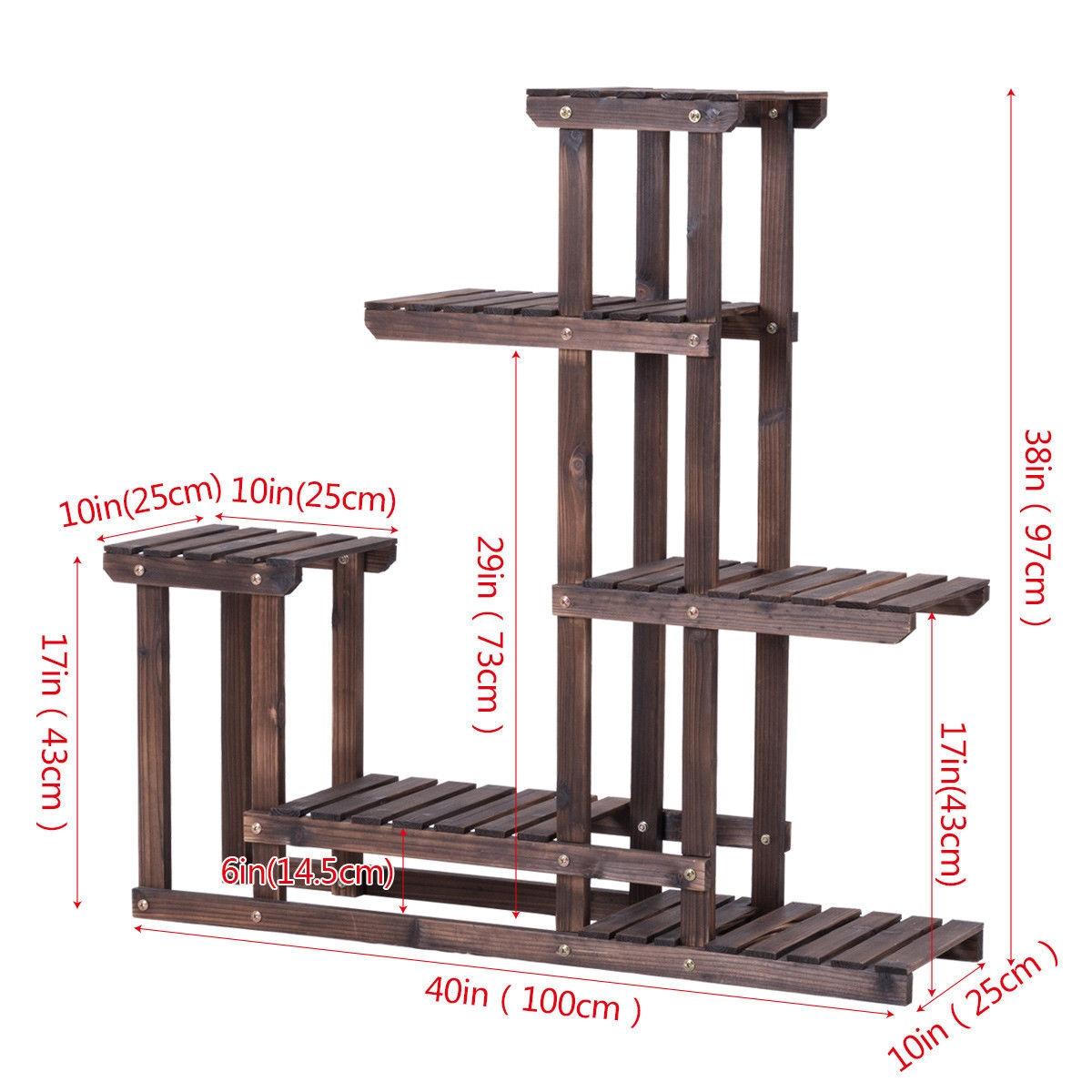 6 - Tier Wooden Plant Pot Stand Rack