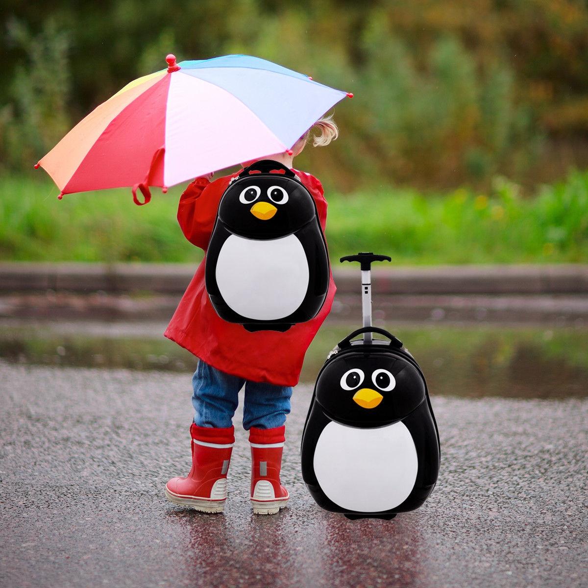 2 pcs Penguin Shaped Kids School Luggage Suitcase & Backpack
