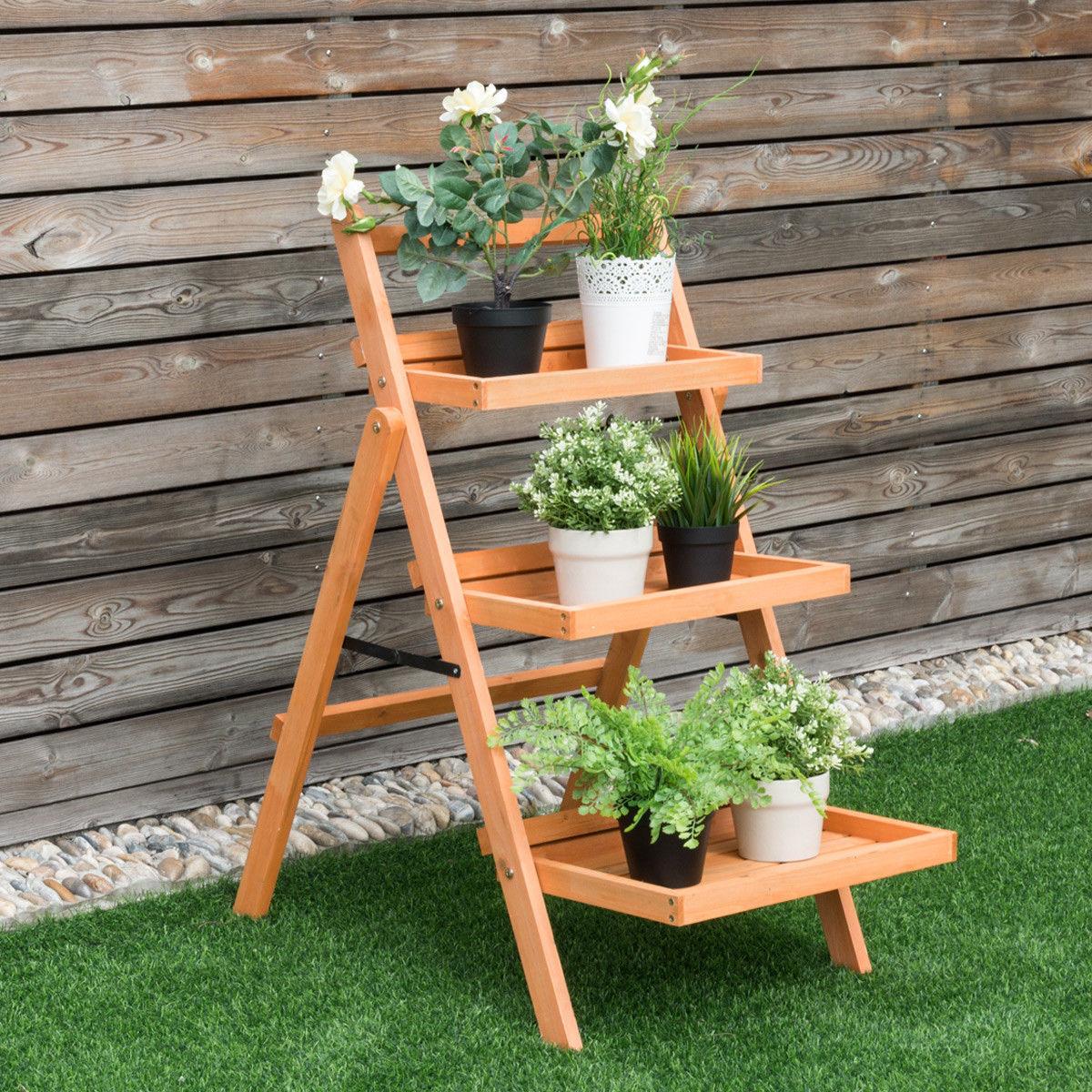 3 Tier Outdoor Wood Flower Folding Pot Shelf Stand