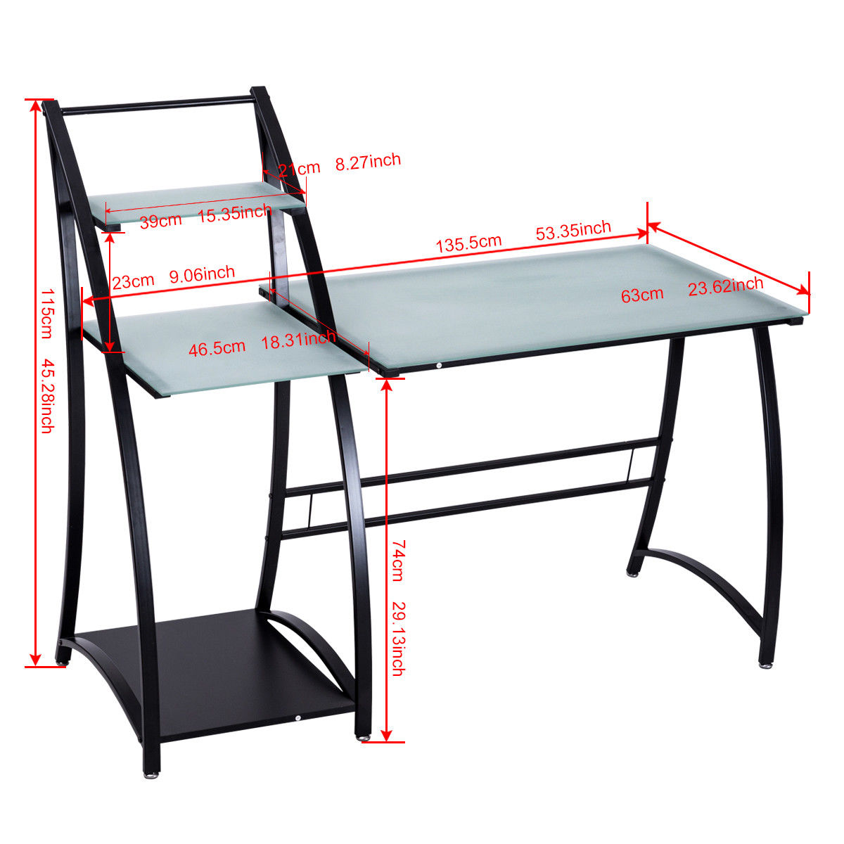 Glass Top Writing Study Computer Desk with Shelves