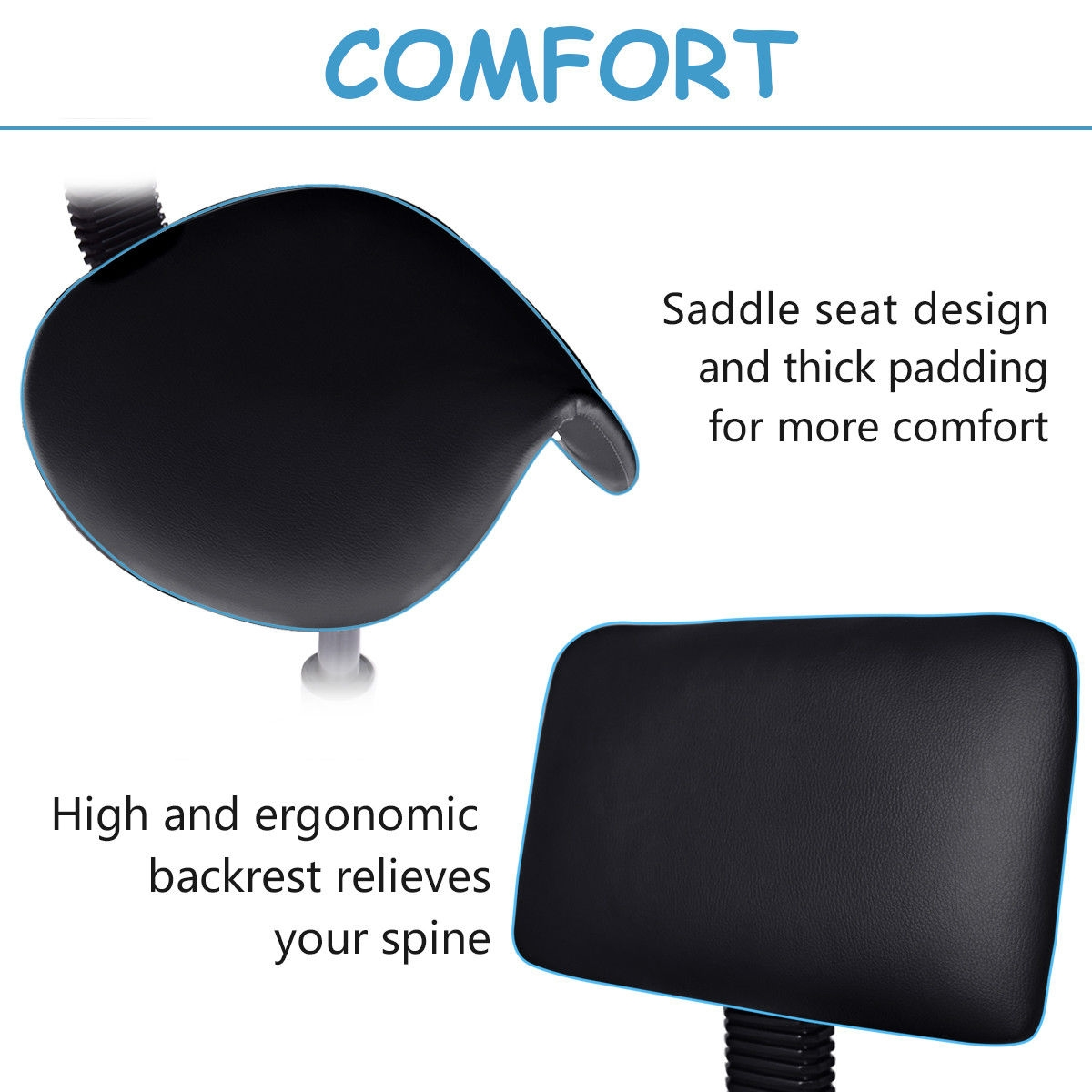 Adjustable Saddle Salon Rolling Massage Chair w/ Backrest