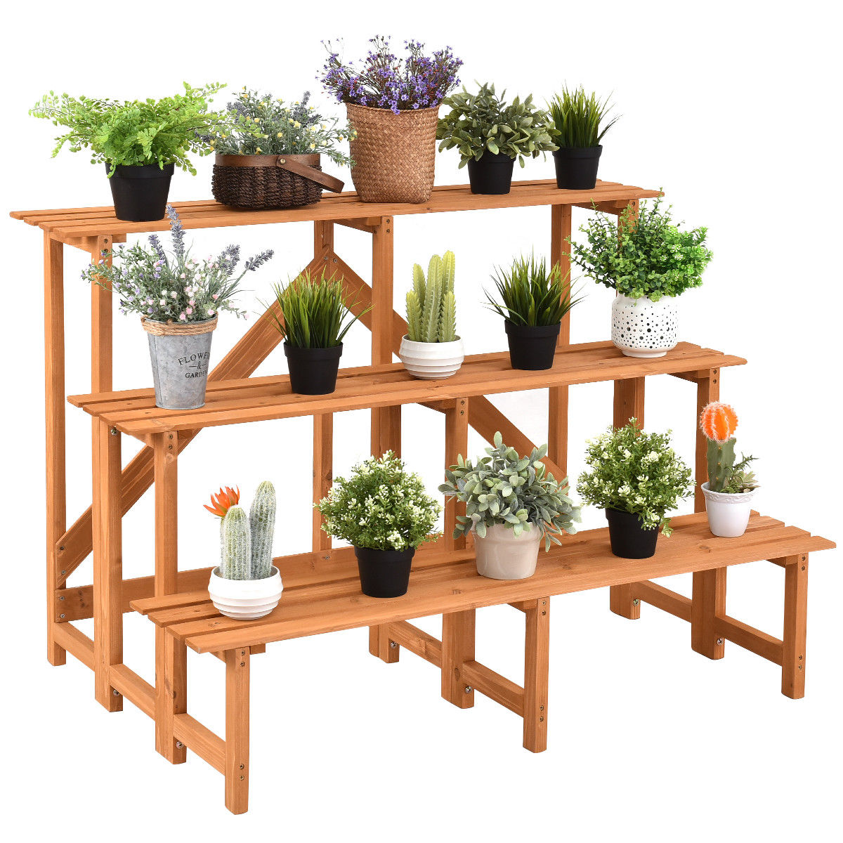 3-Tier Wide Wood Flower Pot Step Ladder Plant Stand