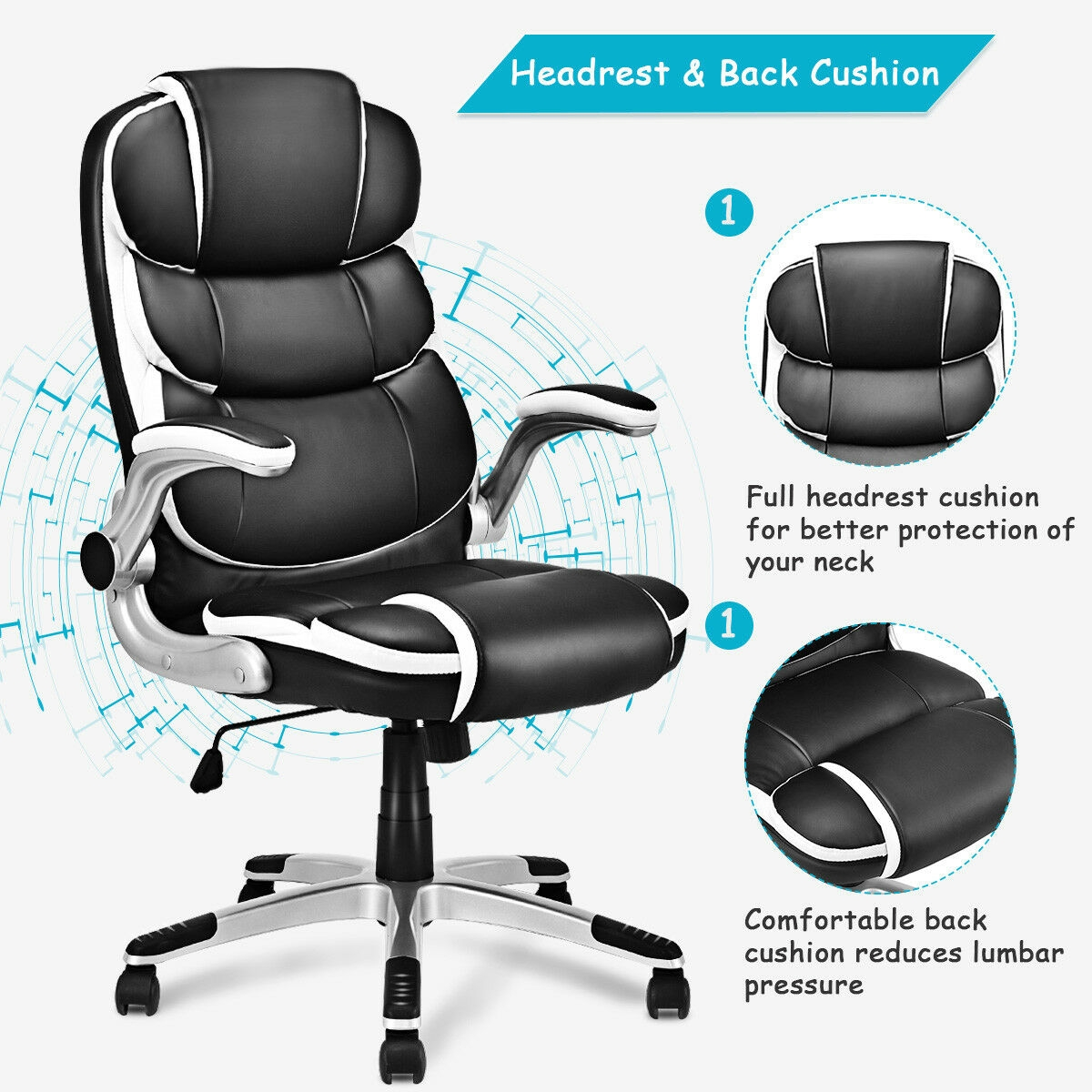PU Leather High Back Executive Swivel Office Chair