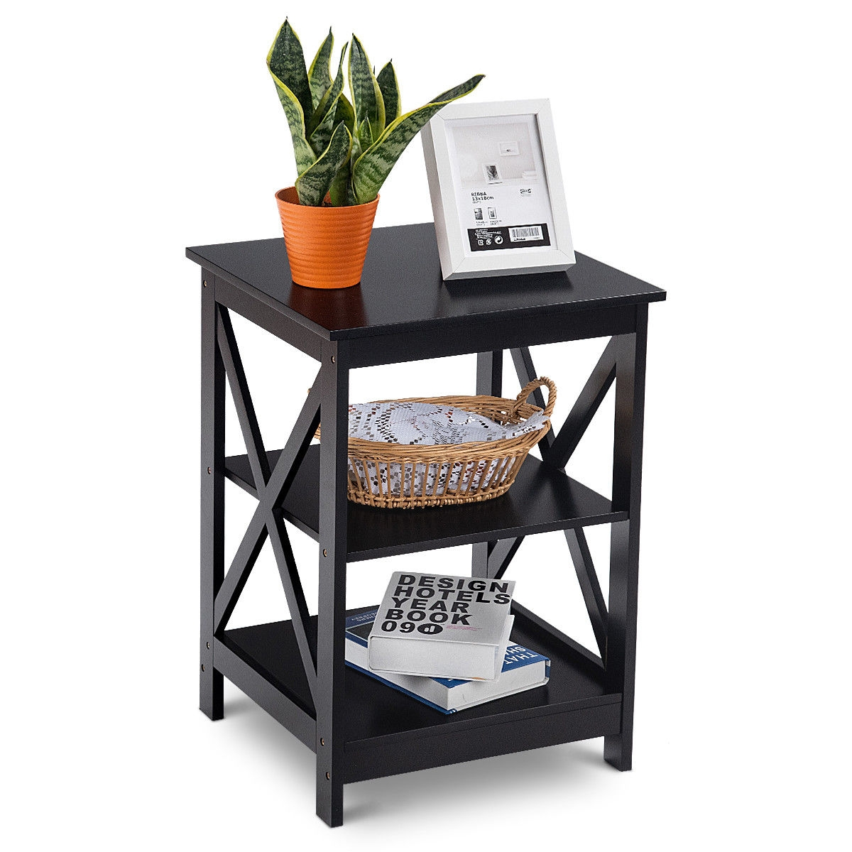 3-Tier Living Room Display Storage Shelf Nightstand